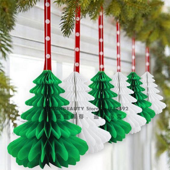 27cm Handmade Honeycomb Christmas Trees Tissue Paper Trees