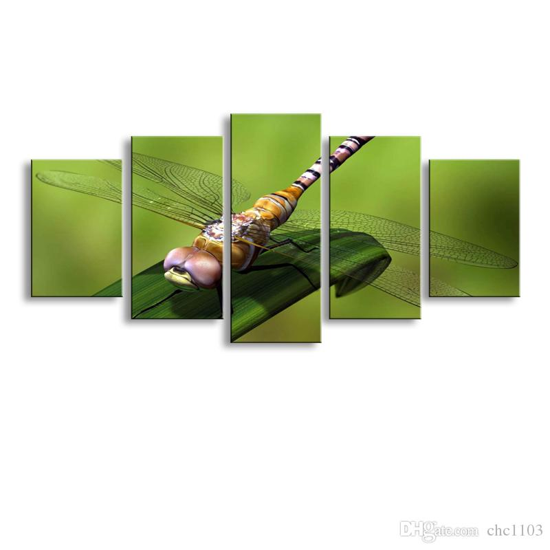 2017 5 Panel Dragonfly Painting Canvas Wall Art Picture Home - living room canvas art