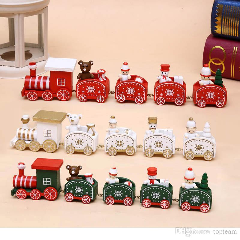 25cm Wood Christmas Train Toy Decoration Decor Gift Onarment Xmas