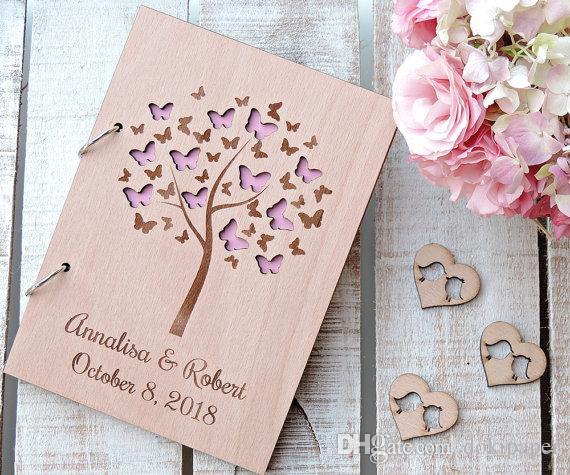 2018 Butterfly Wedding Guest Book Wedding Photo Album Wooden