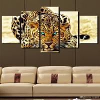2018 5 Panel Leopard Painting Canvas Print Painting Home ...