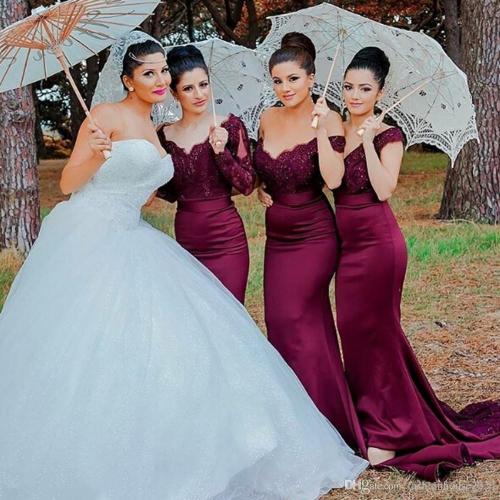 Medium Crop Of Burgundy Bridesmaid Dresses