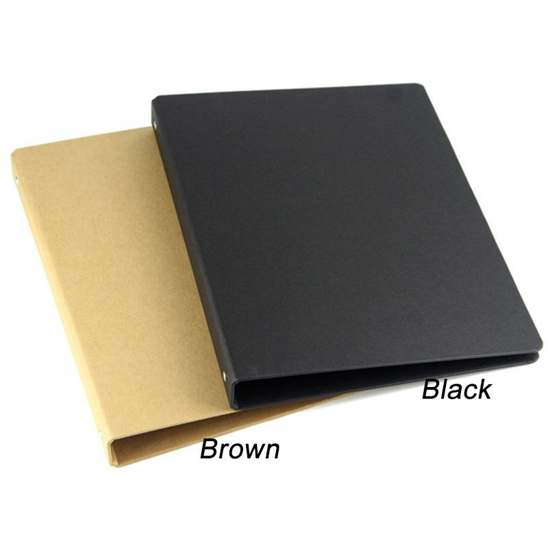Wholesale- Brown Black A4 B5 A5 A6 Kraft Notebook Office Ring Binder - notebook binder