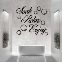 For Soak Relax Enjoy Bathroom Funny Wall Art Quote Sticker ...