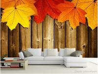 Maple Leaf Wooden Wooden Living Room Tv Wall Mural 3d ...
