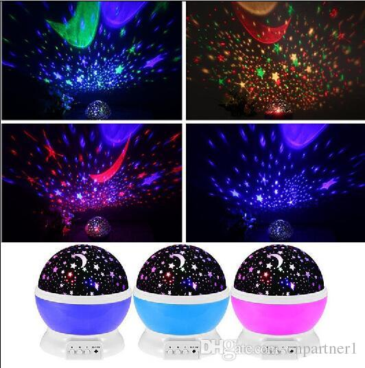2018 Best Gifts! Romantic Led Night Lamp Rotating Starry Star Moon