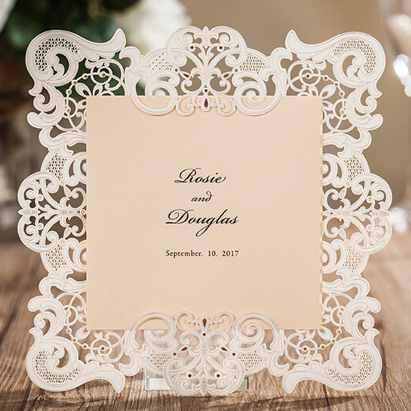 Wholesale Newest White Lace Wedding Invitation Cards Insert Style