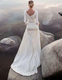 Long Sleeves Modest Wedding Dresses 2017 Beaded Belt ...