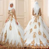 Discount Modern Muslim Wedding Dresses 3/4 Sleeves With ...