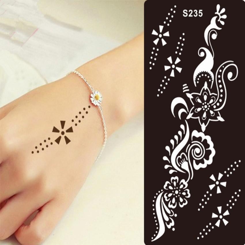 Henna Tattoo Stencil For Glitter Tattoo Template Temporary Black - tattoo template