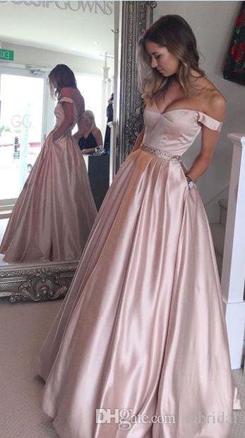 Elegant Simple Long Pink Prom Dresses Off The Shoulder A Line Peplum