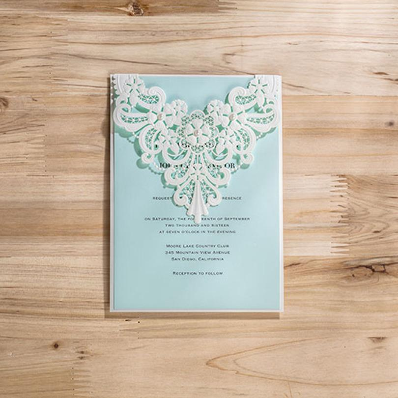 Wholesale Laser Cut Elegant Wedding Invitation Card With Pearl White