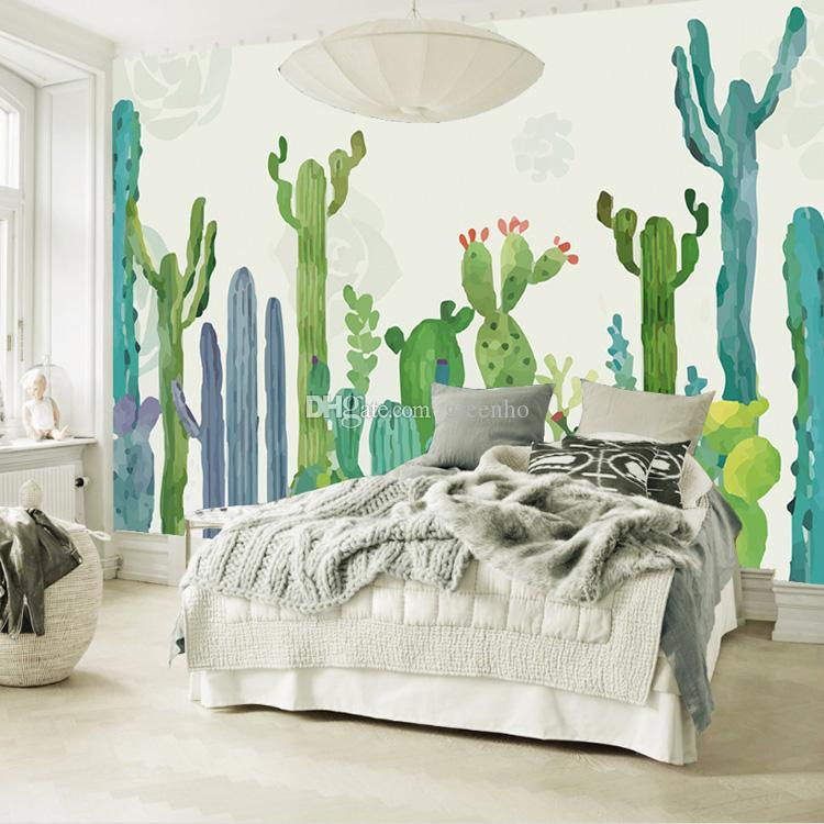 3d Wallpaper For Bedroom Wall India Hand Painted Cactus Wallpaper Green Plants Wall Mural Cute