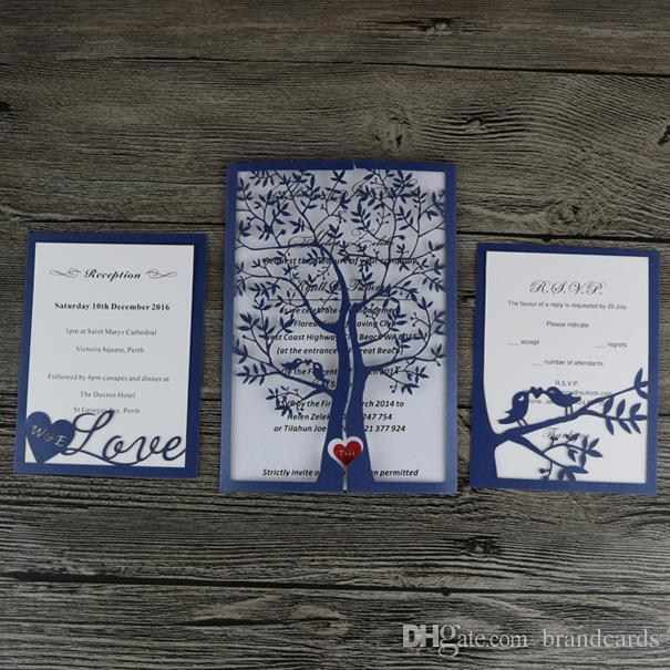Laser Cut Pearl Royal Blue Tree  Love Luxury Wedding Invitation - rsvp e cards