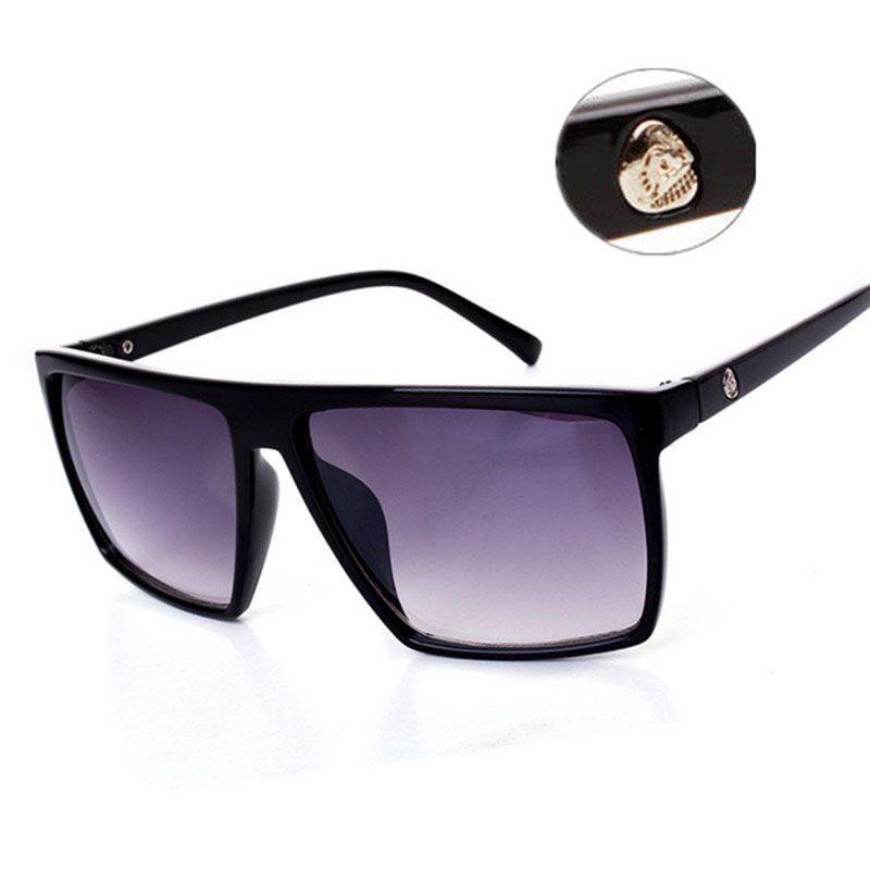 Vintage Steampunk Square Sunglasses Men SKULL Logo All Black Coating