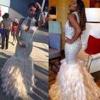 Feather Mermaid Prom Dresses 2017 Sparkly Rhinestone ...