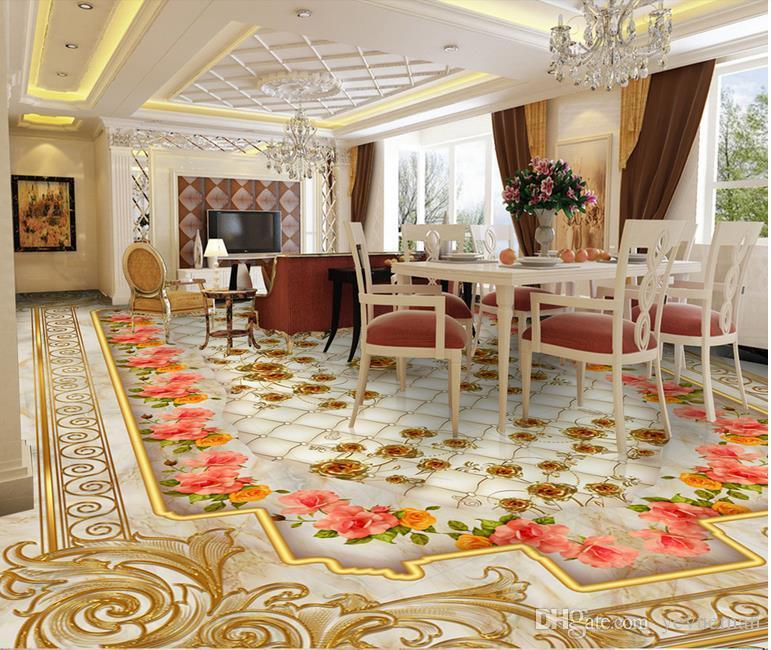 3d Stereoscopic Mural Wallpaper 3d Floor Wallpaper Luxury Golden Rose Marble Soft Bag