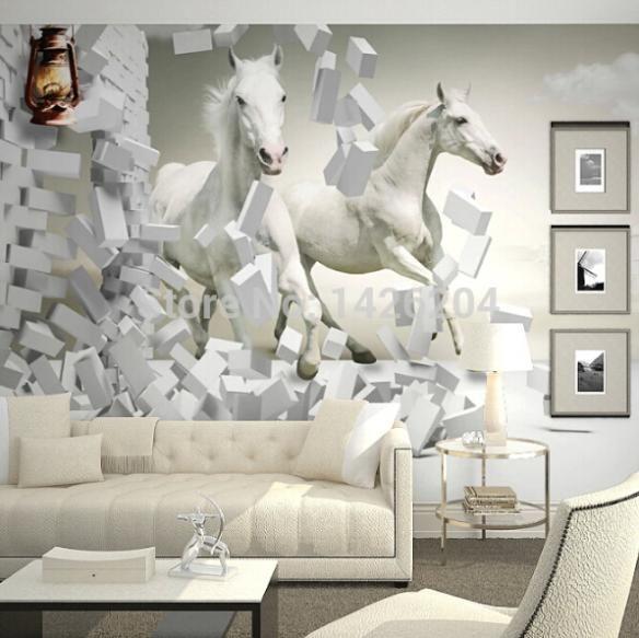Wholesale 3d White Horse Wall Murals Wallpaper,3d Horse Custom - 3d wallpaper for living room