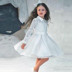 First Communion Dresses for Girls 2018 Fashion High Neck Long Sleeve
