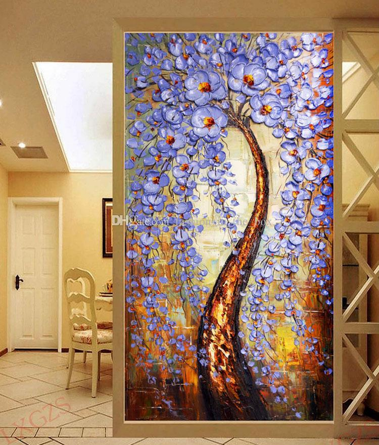 3d Wallpaper For Home Wall India The Tree Of Life Wallpaper Knife Painting Wall Mural