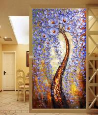 The Tree Of Life Wallpaper Knife Painting Wall Mural ...