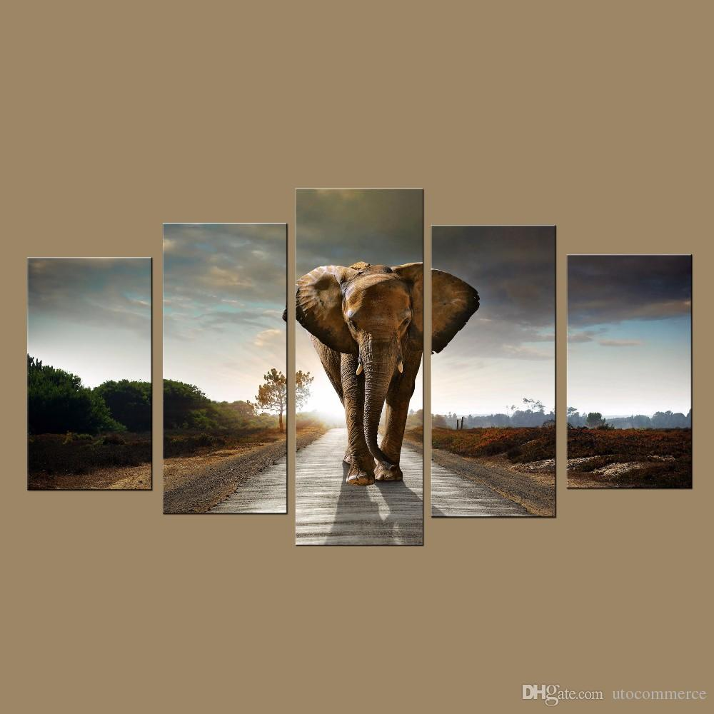 Modern Wall Art Prints Canvas Elephant Painting from