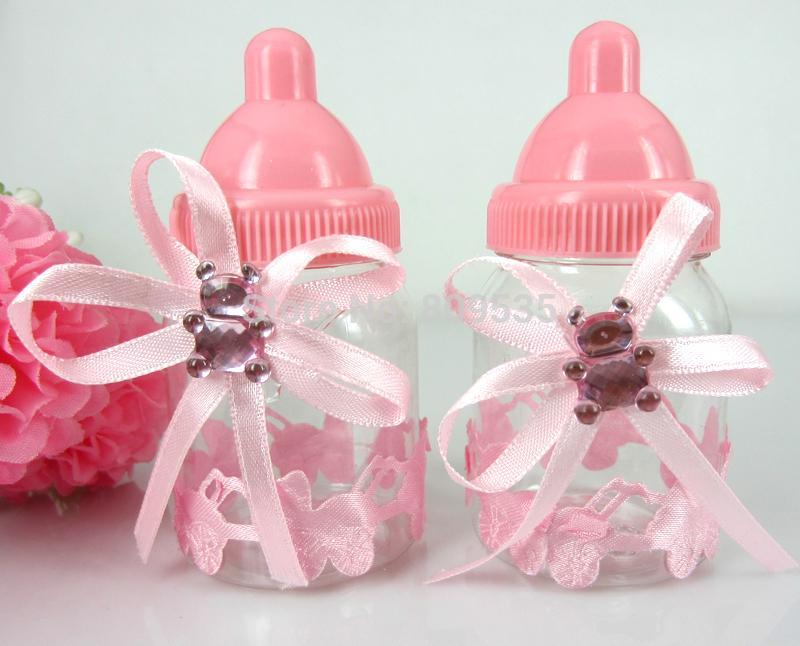 Wholesale Pink Girl Baby Shower Favors Bottle Baptism For