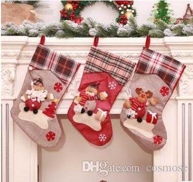 2018 New Style Large Christmas Stocking Santa Claus Elk Snowman
