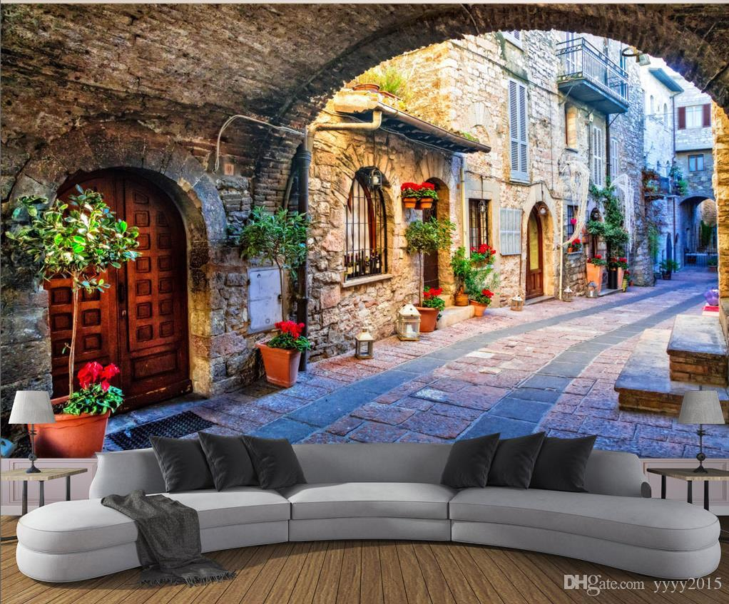 Cheap 3d Brick Wallpaper 3d Wallpaper Living Room Italian Town Street View 3d