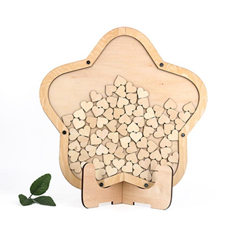 2019 Sale New Star Wedding Guest Book Wood Wedding Decoration From