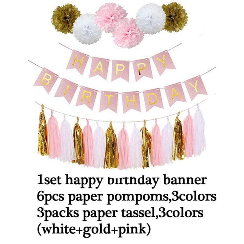 2019 Wholesale Cheap Pink Happy Birthday Banner White Tissue Paper