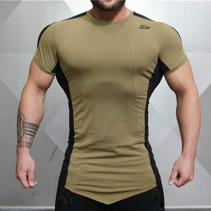 Mens Tight Fitting Short Sleeved T Shirt Fitness Organization Body