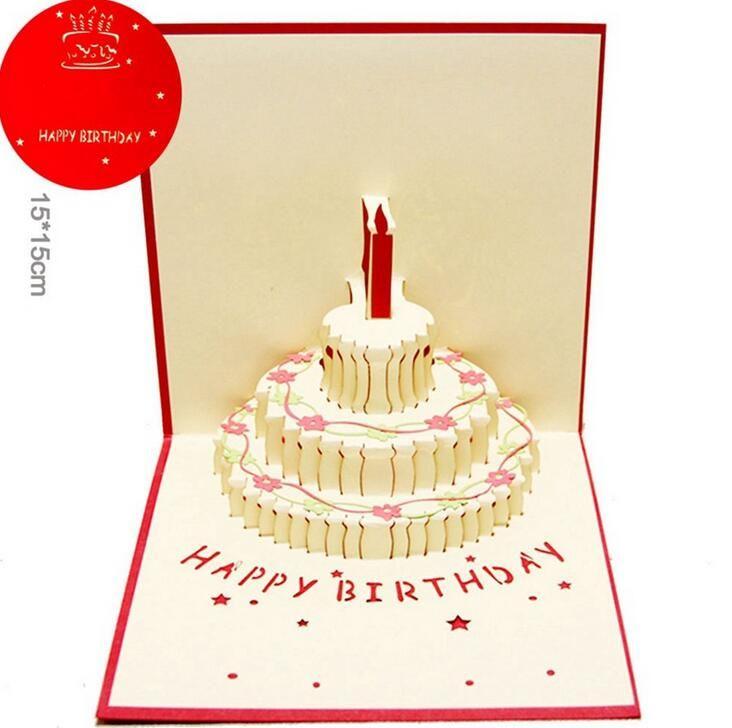 Compre 3D Emergente Feliz Cumpleaños Regalos Tarjetas De