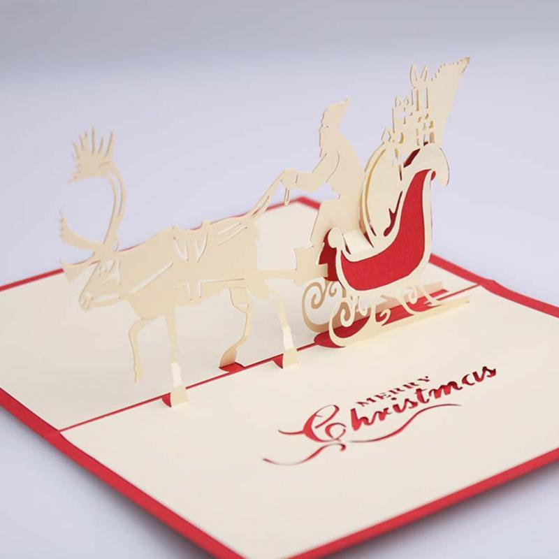 3D Pop Up Santa\u0027S Sleigh Greeting Card Merry Christmas Wedding