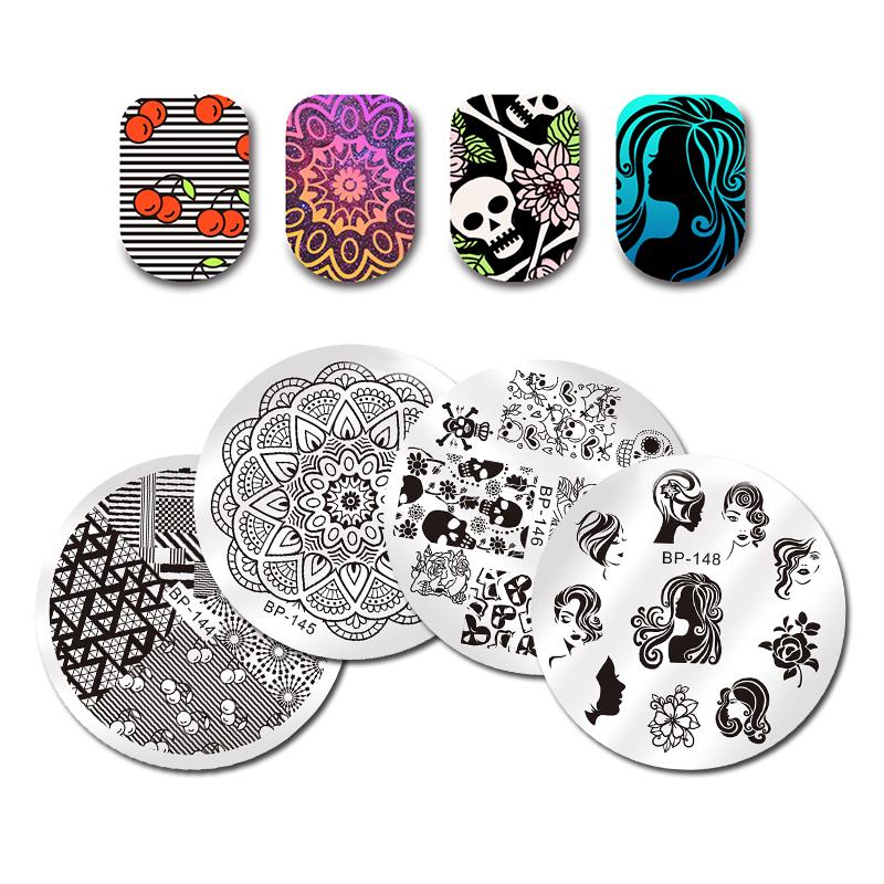BORN PRETTY Round Nail Stamping Plate Flower Paisley Geometry 55cm