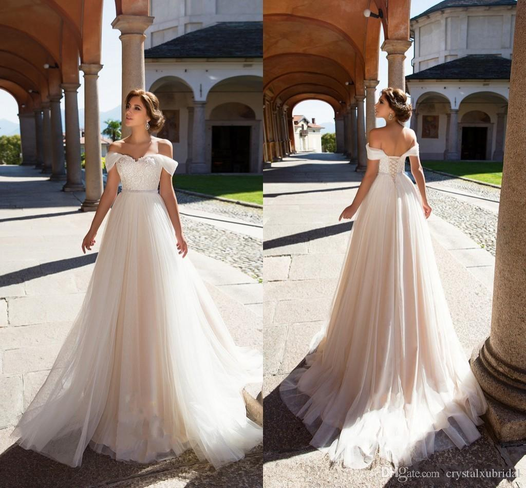 Perky Discount 2018 A Line Wedding Dresses Off Shoulder Appliques Lace Beadscorset Back Summer Size Tulle Sashes Bohemian Beach Formal Bridal Gownswedding Discount 2018 A Line Wedding Dresses Off Shou wedding dress A Line Wedding Dresses