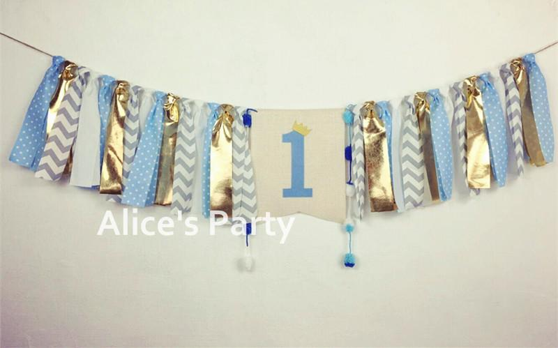 2019 New Pastel Blue White Grey Gray Gold Highchair Banner Boy 1st
