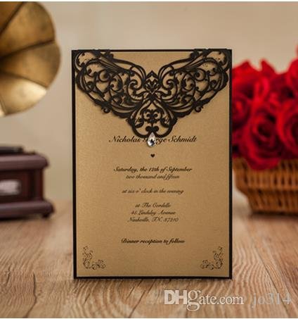 2017 Dark Royal Cut Wedding Invitations Cards Hollow Personalized