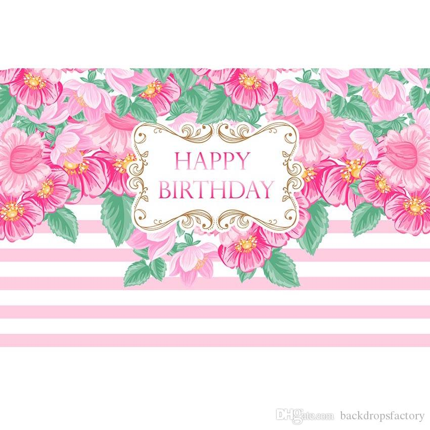 2019 White And Pink Striped Birthday Party Background Customized