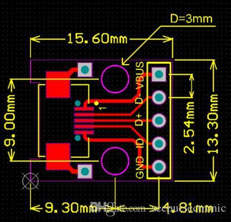 Mini Micro USB To DIP 254mm Adapter Connector Module Board Panel