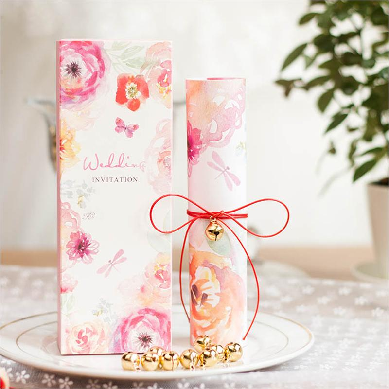 Scroll Wedding Invitations 2017 Pink Floral Invitation Cards For
