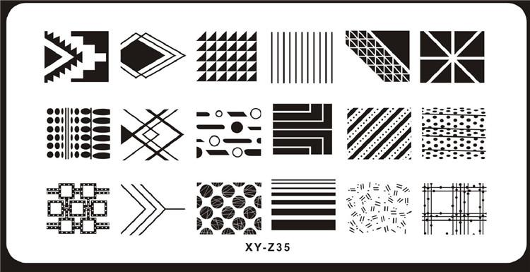 Image PlateS For Stamping Nail Art Stencil Template Various Geometry