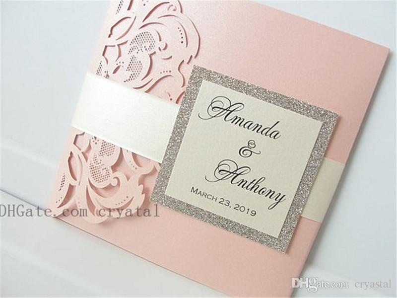 Lasercut Wedding Invitation With Envelope And Tag, Laser Cut
