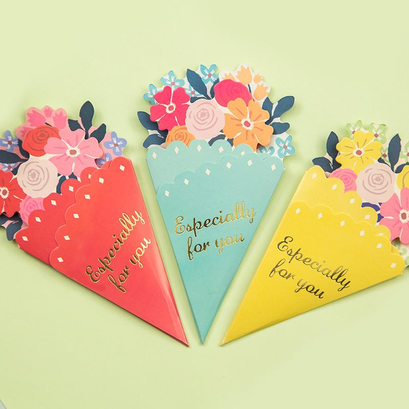 Wholesale Flowers Greeting Card With Envelope Kawaii Holiday