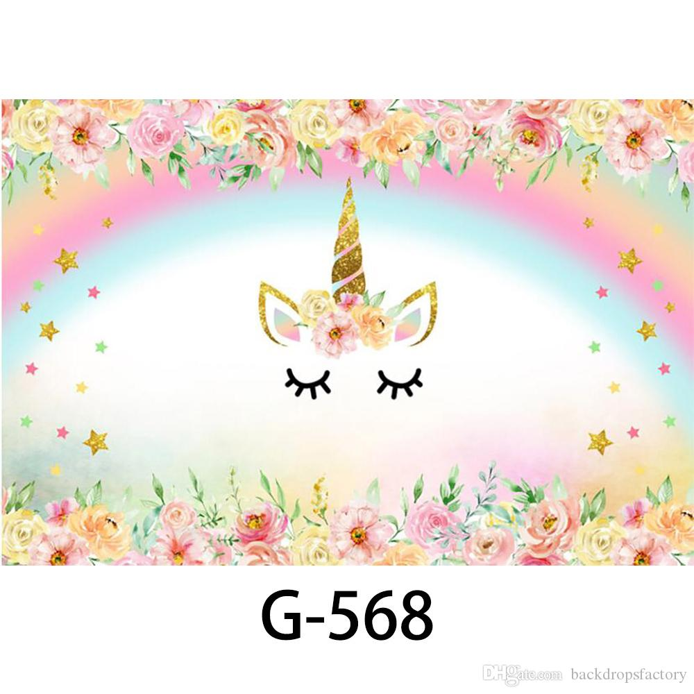 Little Girl With Flowers Hd Wallpaper Rainbow Unicorn Backdrops Baby Shower Props Printed