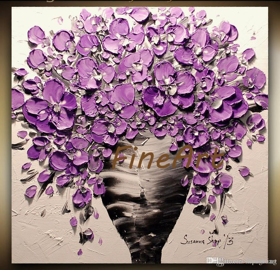 2019 Palette Knife Purple Flower Painting Knife Oil Canvas Bouquet