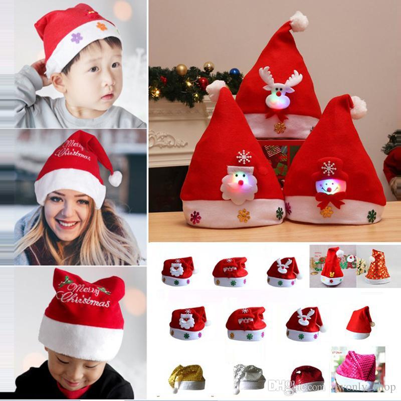 Led Kids Christmas Hat Xmas Adult Mini Red Santa Claus Deer Party