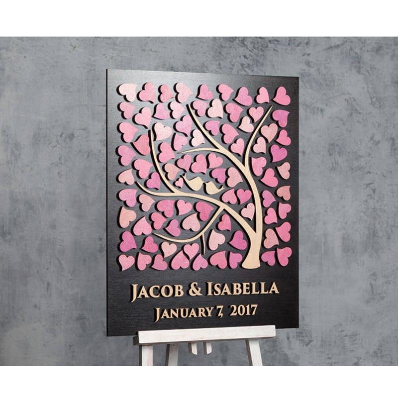 2019 Custom 3D Wedding Guest Book,Personalized Tree Guestbook