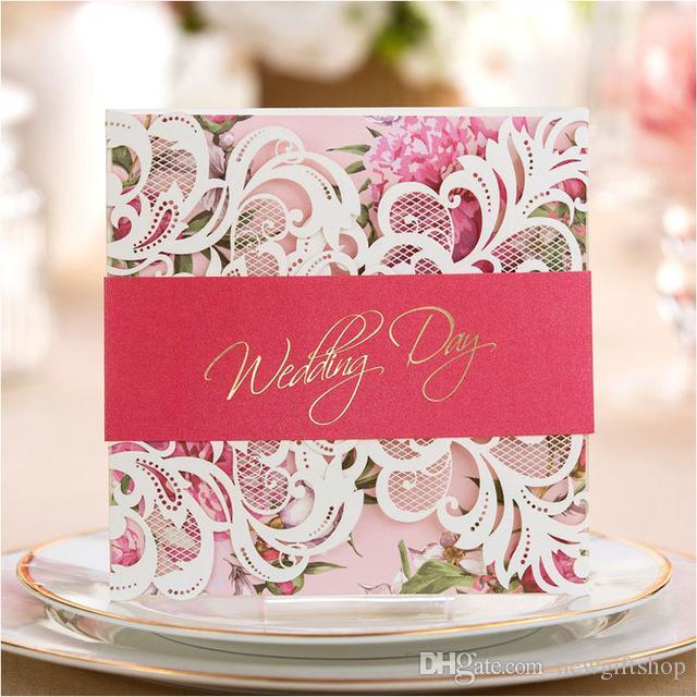 Green / Pink / Purple Laser Cut Wedding Invitation Cards 2017 Flower