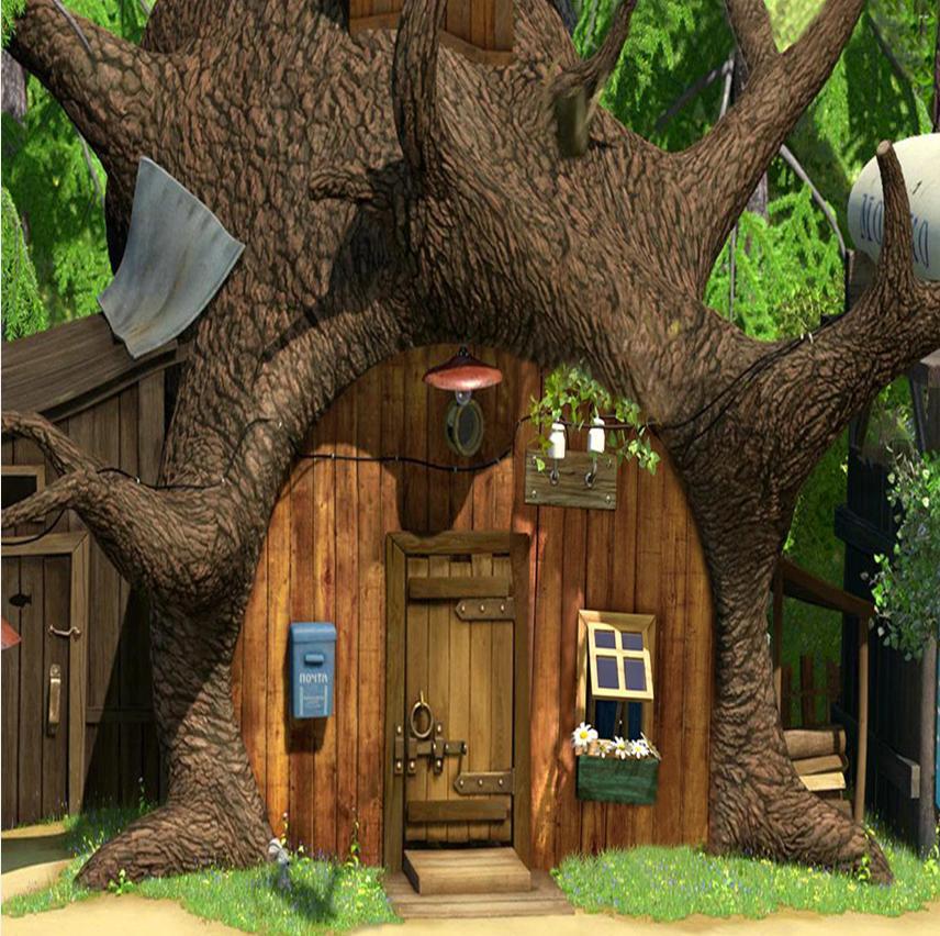 3d House Wallpaper Room 2019 8x8ft Masha Bear Tree House Wood Door Forest Custom